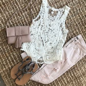 Sheer Tank Top with Delicate Embroidery